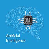 Circuit board brain, Artificial intelligence concept, vector illustration. Flat design style