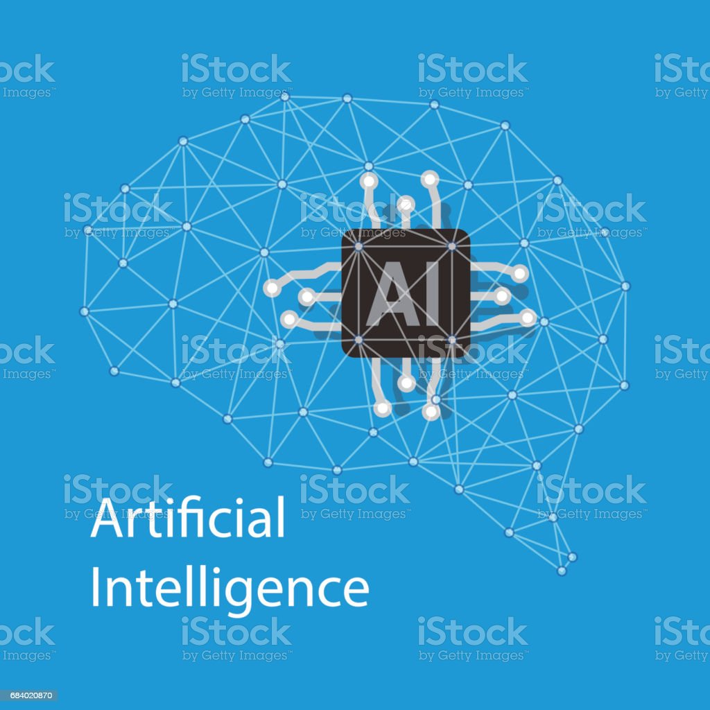 Circuit board brain, Artificial intelligence concept, vector illustration vector art illustration