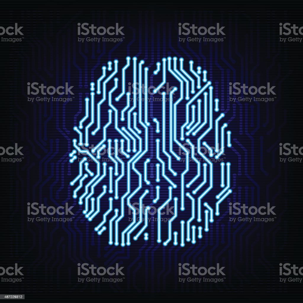 Circuit board brain concept. Vector illustration. vector art illustration