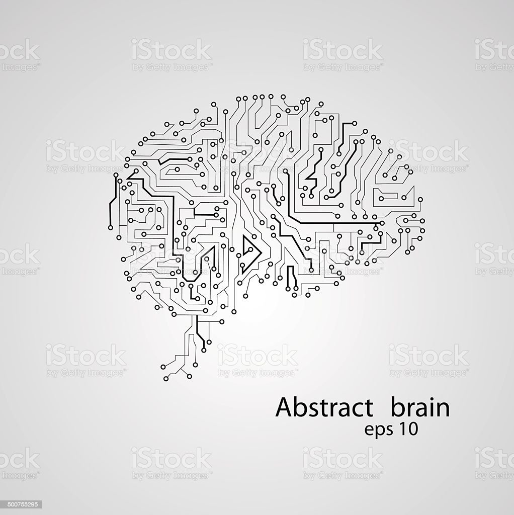 Circuit board brain eps 10 vector art illustration