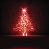 Vector red technology circuit board Christmas tree