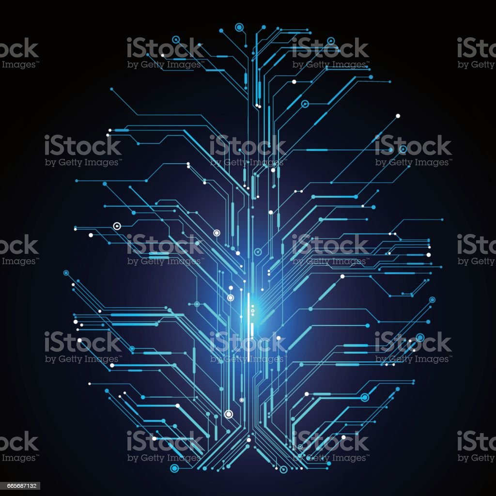 Circuit board composed of brain graphics. vector art illustration
