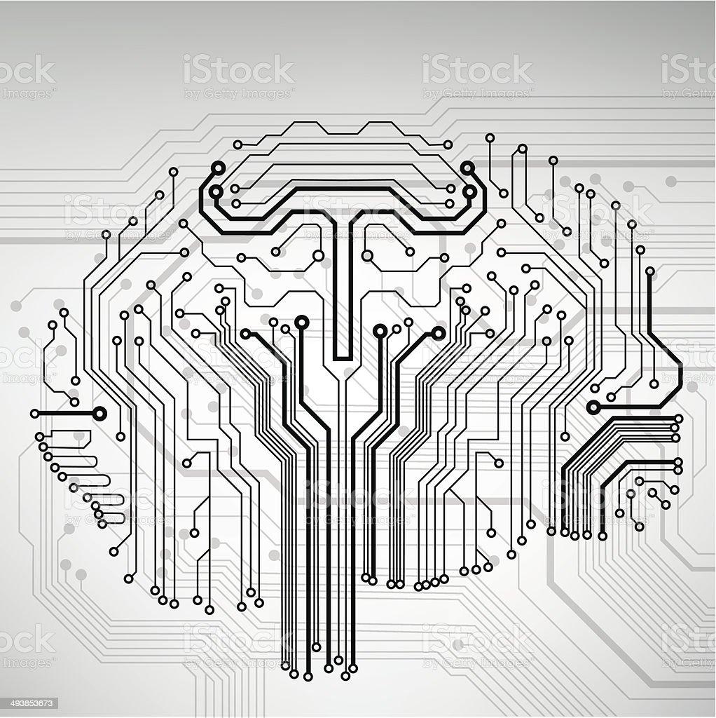 Schaltkreis Computer Gehirn Vektorillustration Stock Vektor Art und ...
