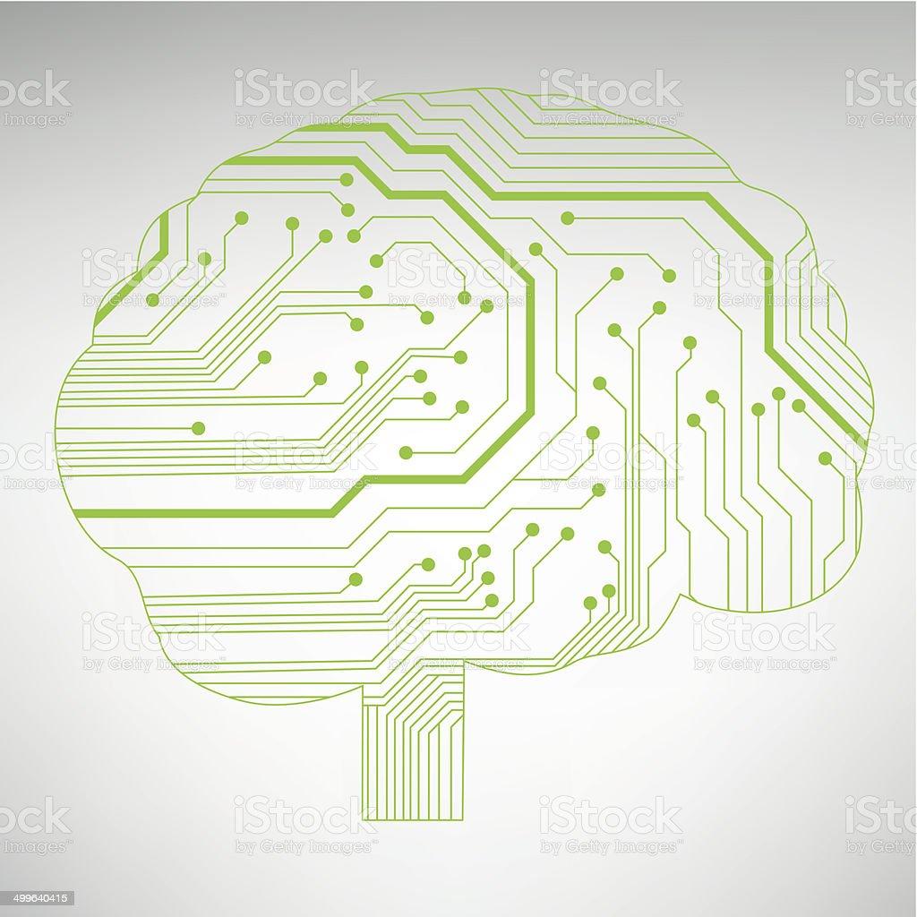 Schaltkreis Computer Gehirn Vektorillustration Vektor Illustration ...