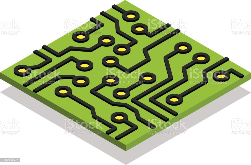 circuit board computer chip isometric isolated stock vector art