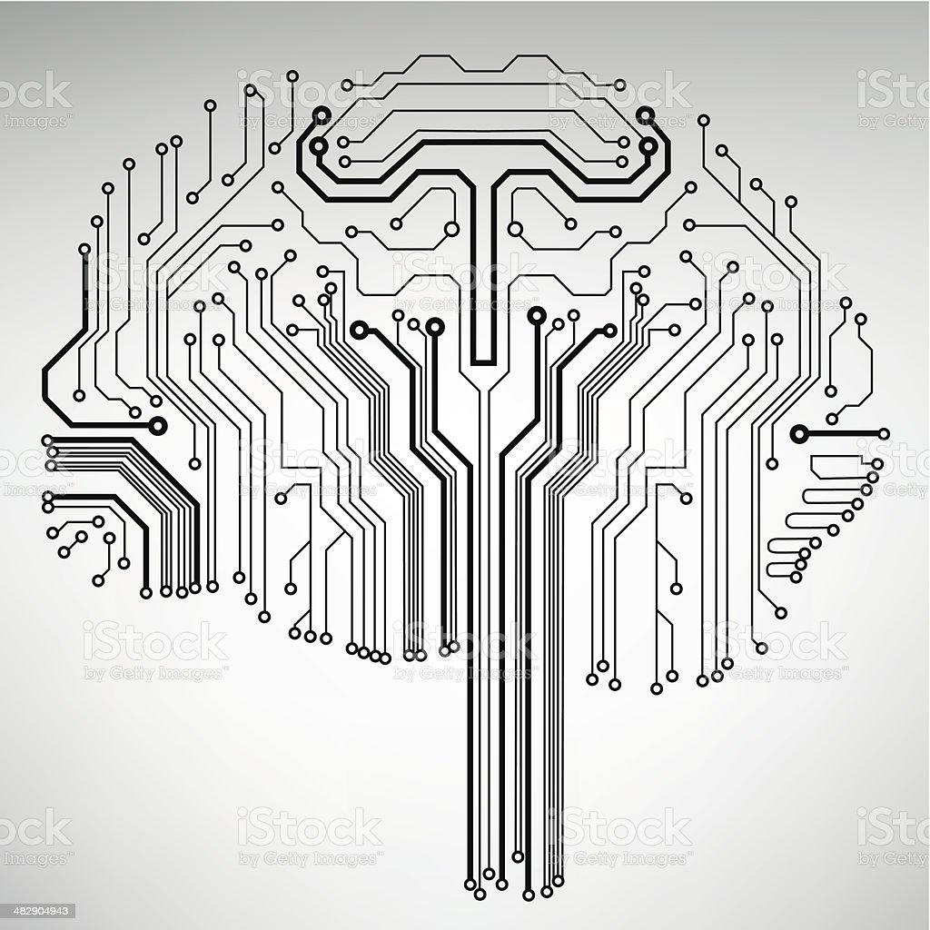 Schaltkreis Computergehirn Vektor Technologiehintergrund Vektor ...