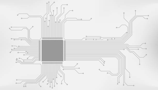 Circuit Board CPU Microprocessor Interface Connection Vector Background. Circuit Board CPU Microprocessor Interface Connection Vector Background. Gray Abstract Line Connection Trace Pad Illustration. computer chip stock illustrations