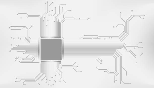 devre kartı cpu mikroişlemci arabirimi bağlantı vektör arka plan. - bilgisayar yongası stock illustrations
