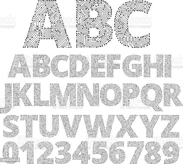 Circuit Board Custom Made Font. This image has the entire alphabet created of circuit board letters. The image is black and white in color.