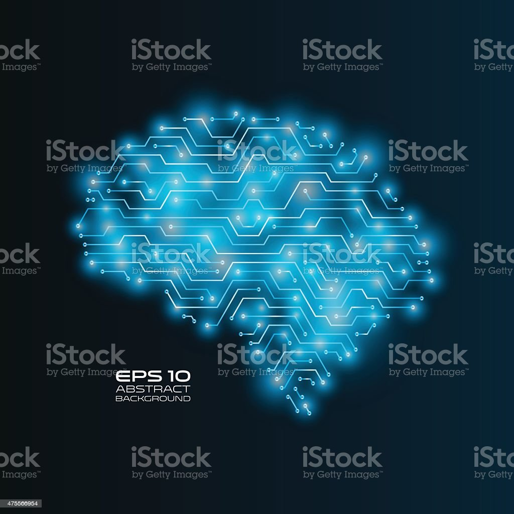 Circuit board drawing a human brain. Futuristic vector illustration. vector art illustration