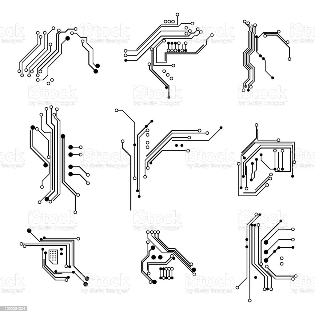circuit board elements white thin line icon set vector stock vector art  u0026 more images of
