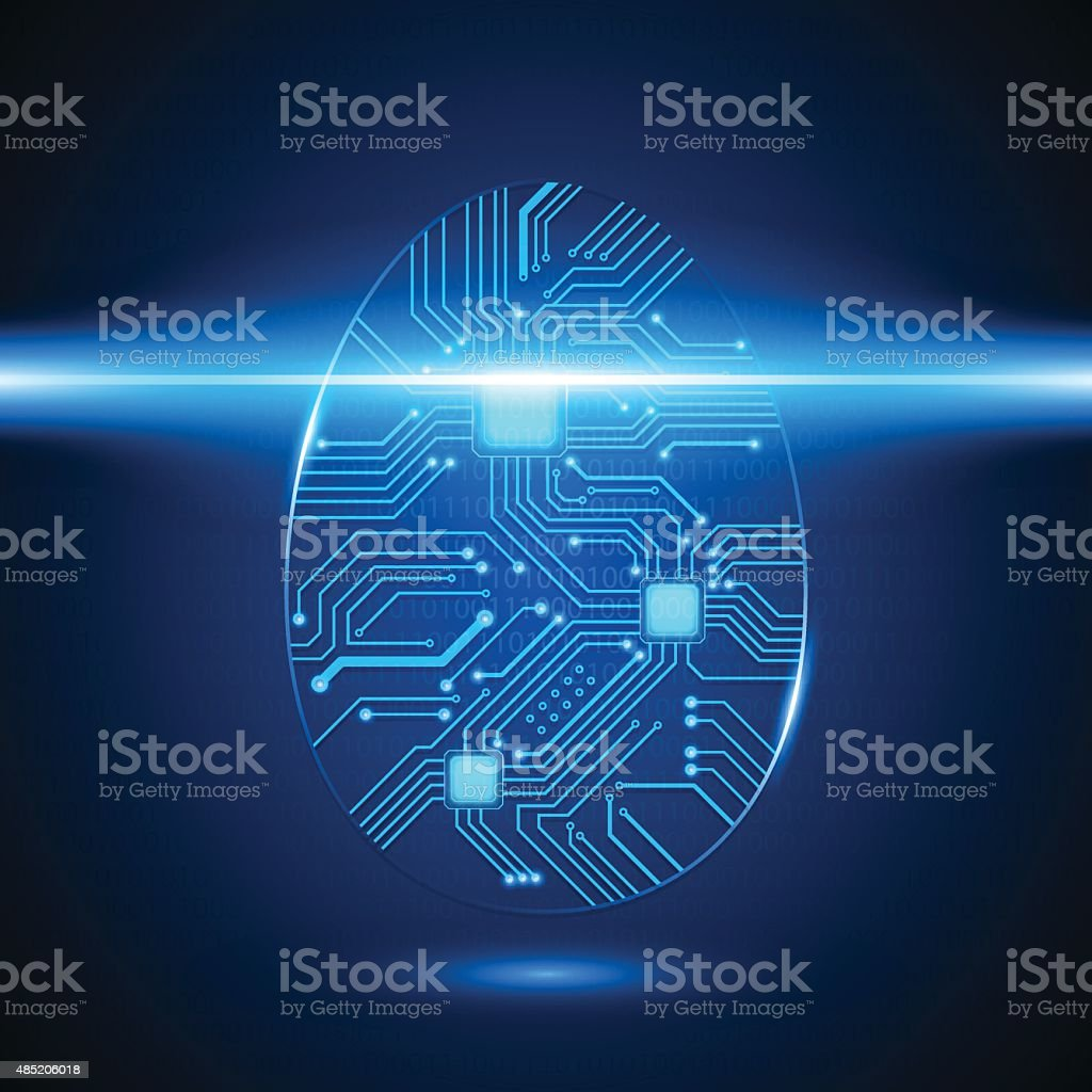 Circuit Board Fingerprint, Vector vector art illustration