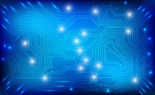 stockillustraties, clipart, cartoons en iconen met printplaat hi technologie sci fi cyber security concept vector achtergrond. - printplaat