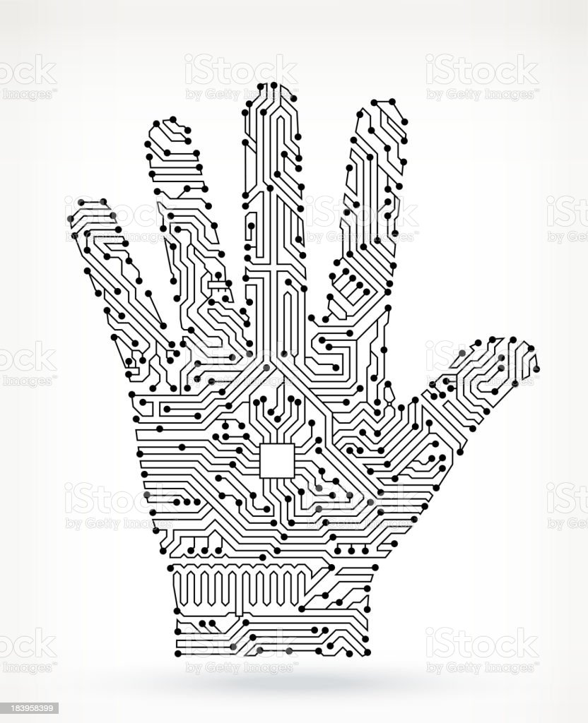 circuit board human palm stock vector art  u0026 more images of
