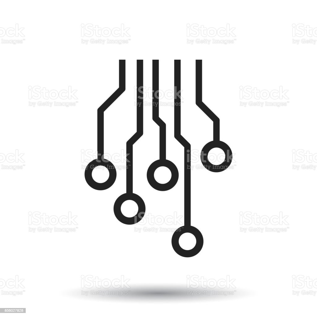 Circuit Board Icon Technology Scheme Symbol Flat Vector Illustration ...