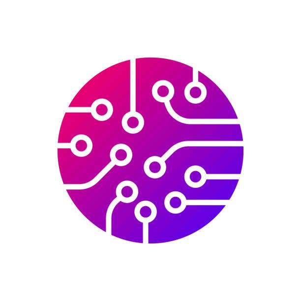 Circuit board icon vector. Colorful logo vector art illustration