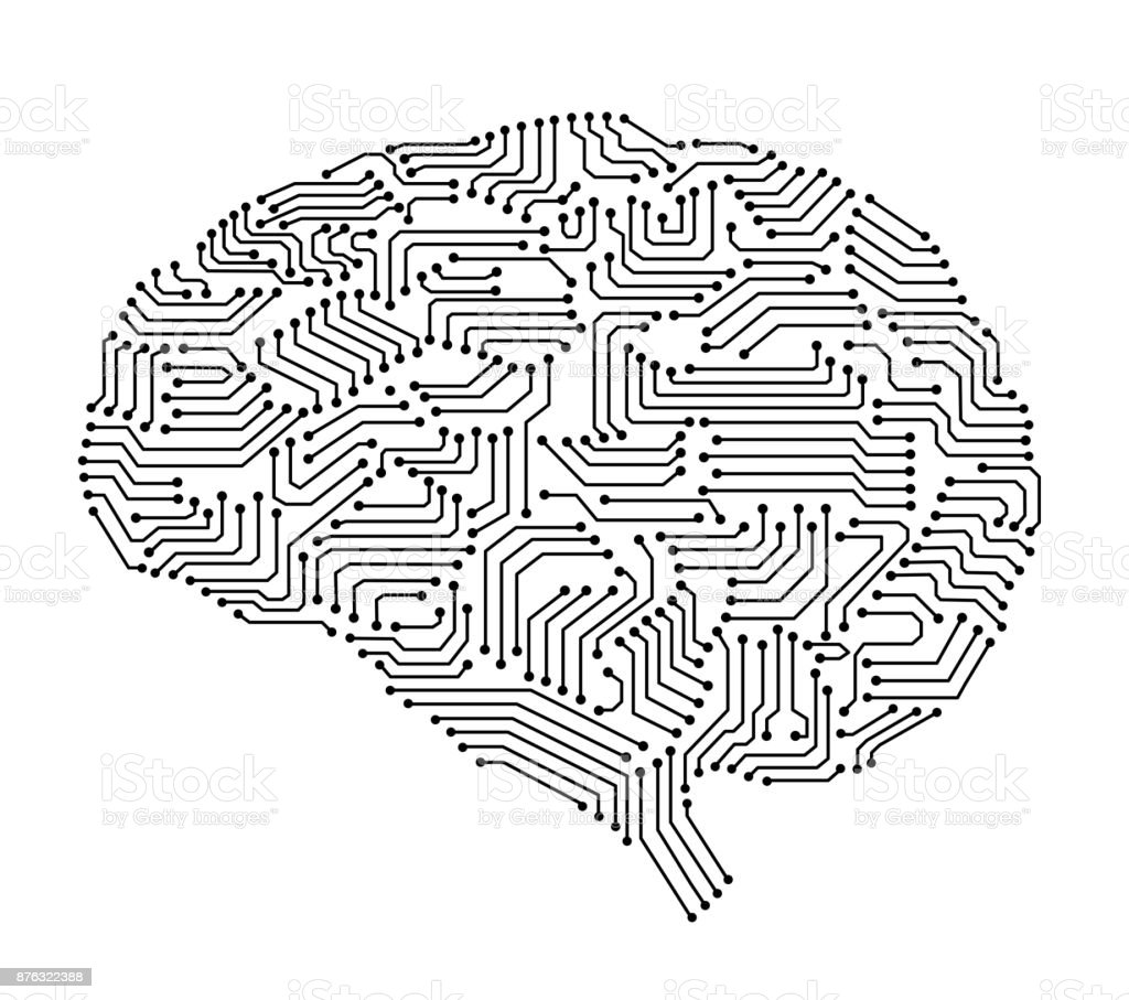 circuit board in brain shape vector art illustration