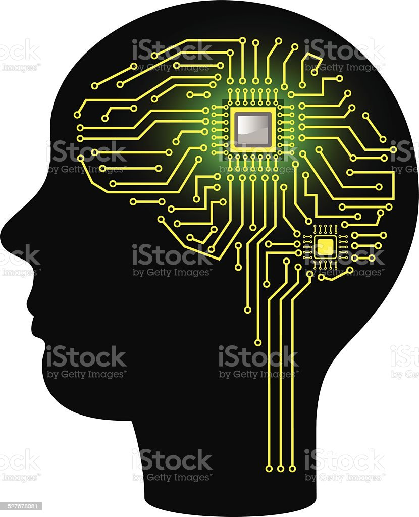 Circuit Board In Form Of Brain Stock Vector Art More Images Boards With Clock Hands Royalty Free Image
