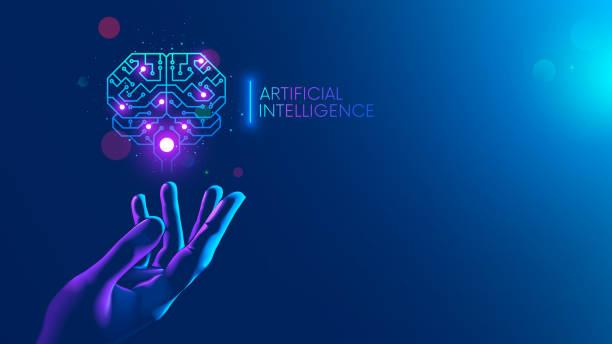płytka drukowana w kształcie elektronicznego mózgu z zakrętem, symbol ai wiszący nad ręką. symbol komputerowych sieci neuronowych lub sztucznej inteligencji w neonowej cyberprzestrzeni z świecącym tytułem na naukowiec palmowy - ai stock illustrations