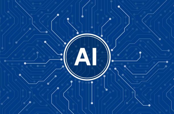 circuitos en el cerebro del Cyborg, Inteligencia Artificial de los humanos digital. - ilustración de arte vectorial