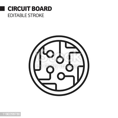 istock Circuit Board Line Icon, Outline Vector Symbol Illustration. Pixel Perfect, Editable Stroke. 1190258730