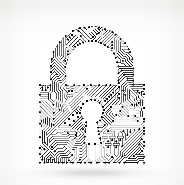 Circuit Board Lock Lock Circuit Board on royalty free vector background. The electric circuit board is black and is set against a white background. Detailed illustration of the circuit board fill up the entire object and forms clean edges. Icon download includes vector graphic and jpg file. pattern stock illustrations