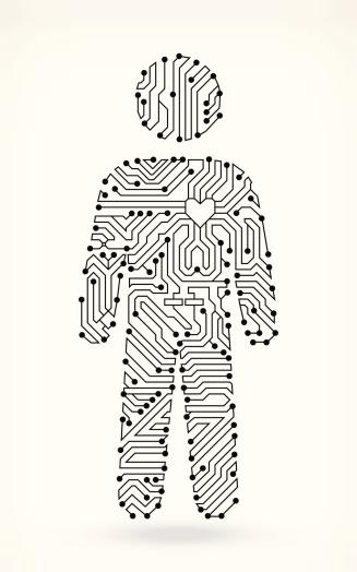 Circuit Board Man Figure