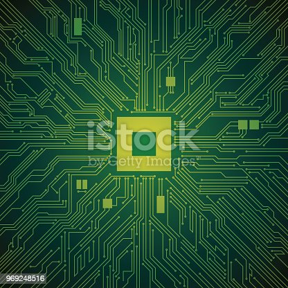 Circuit Board Processor Computer Technology Illustration