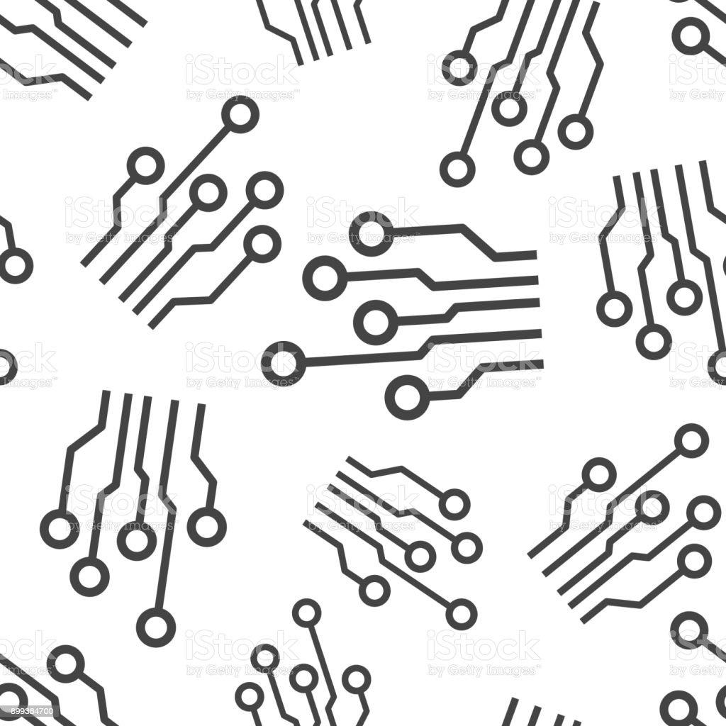 Circuit board seamless pattern background. Business flat vector illustration. Technology scheme circuit board sign symbol pattern. vector art illustration