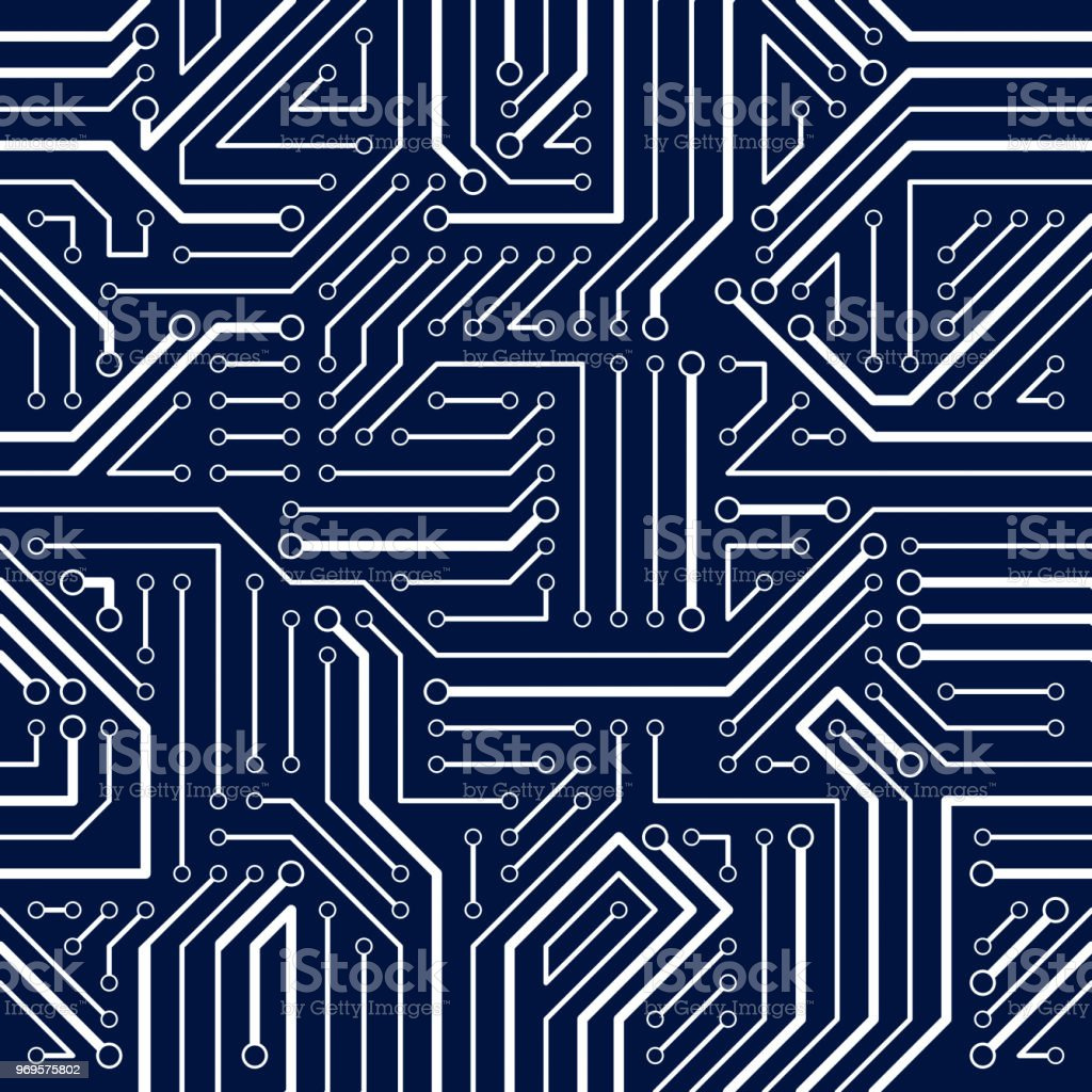 Circuit Board Seamless Pattern Vector Background Microchip Abstract With Old Computer Technology Electronics Wallpaper Repeat Design Royalty