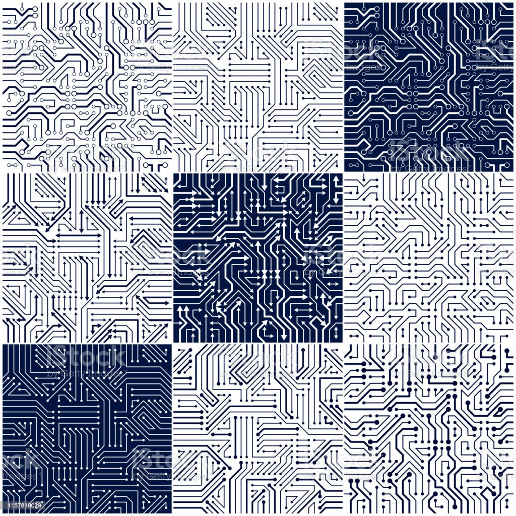 Circuit Board Seamless Patterns Set Vector Backgrounds