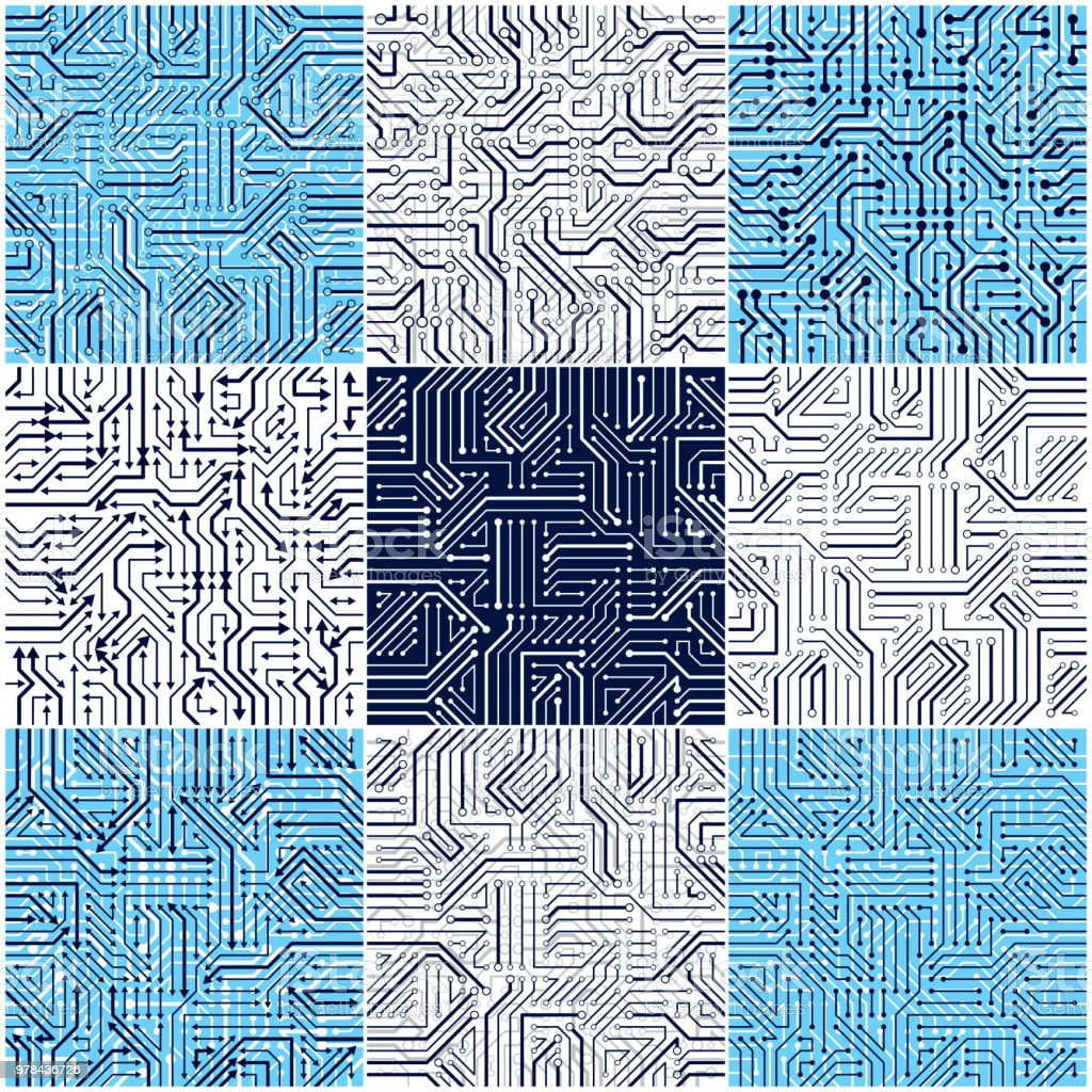 Circuit Board Seamless Patterns Set Vector Backgrounds Collection Microchips In Old Printed Stock Photo Microchip Technology Electronics Wallpaper Repeat Design