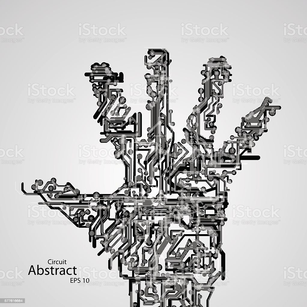 Circuit Board Shape Of Hand Palm Eps10 Stock Vector Art & More ...