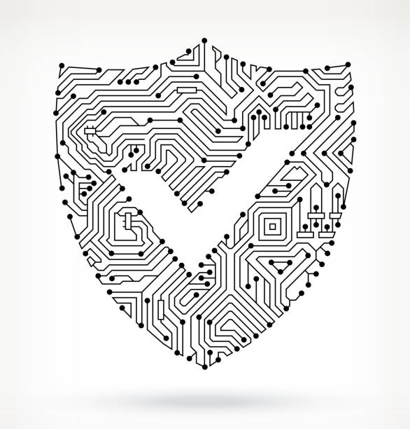 Circuit Board Shield with Check Circuit Board Shield with Check  pattern stock illustrations