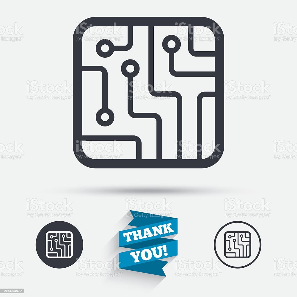 Circuit Board Sign Icon Technology Symbol Stock Vector Art & More ...