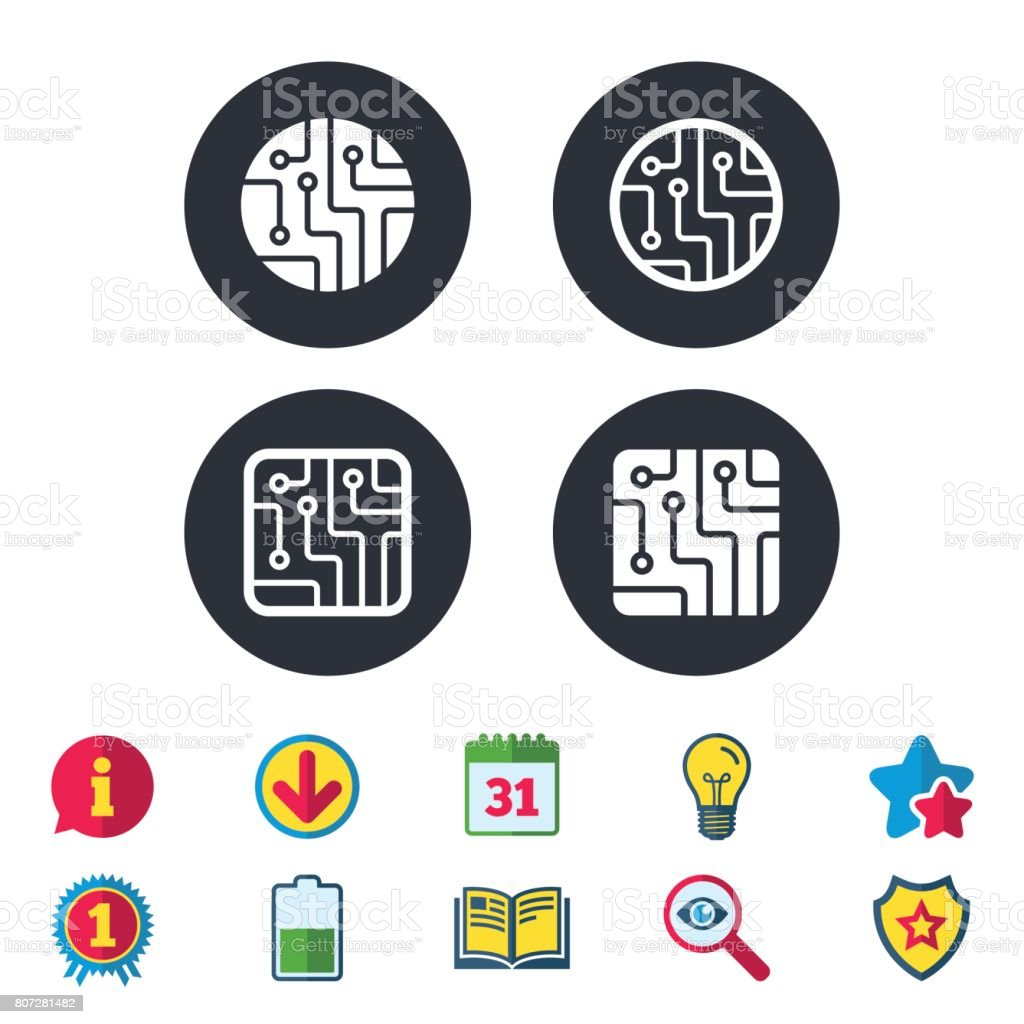 Circuit Board Signs Technology Scheme Icons stock vector art ...