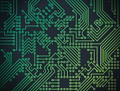 Circuit board technology nodes abstract background.