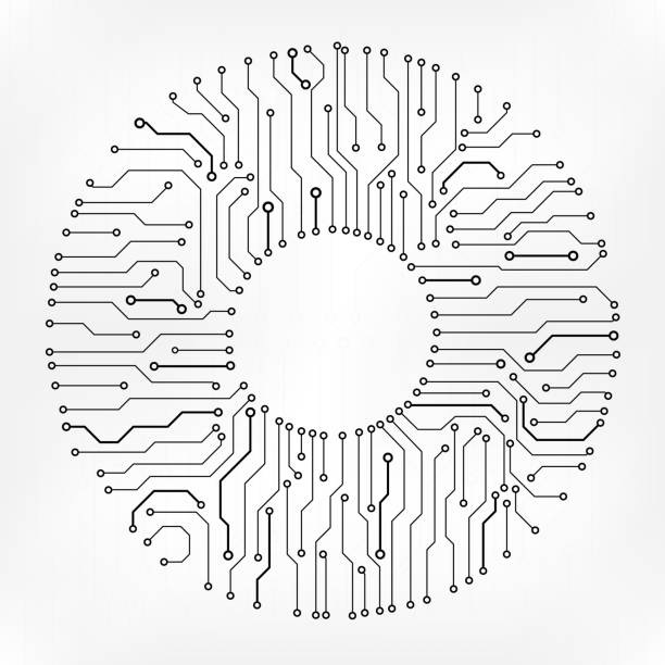 Circuit Board Technology Information Pattern Concept Vector Background. Circuit Board Technology Information Pattern Concept Vector Background. Grayscale Color Abstract PCB Trace Data Infographic Design Illustration. circuit board stock illustrations