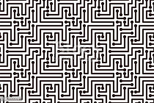Circuit Board texture Background, Maze seamless pattern