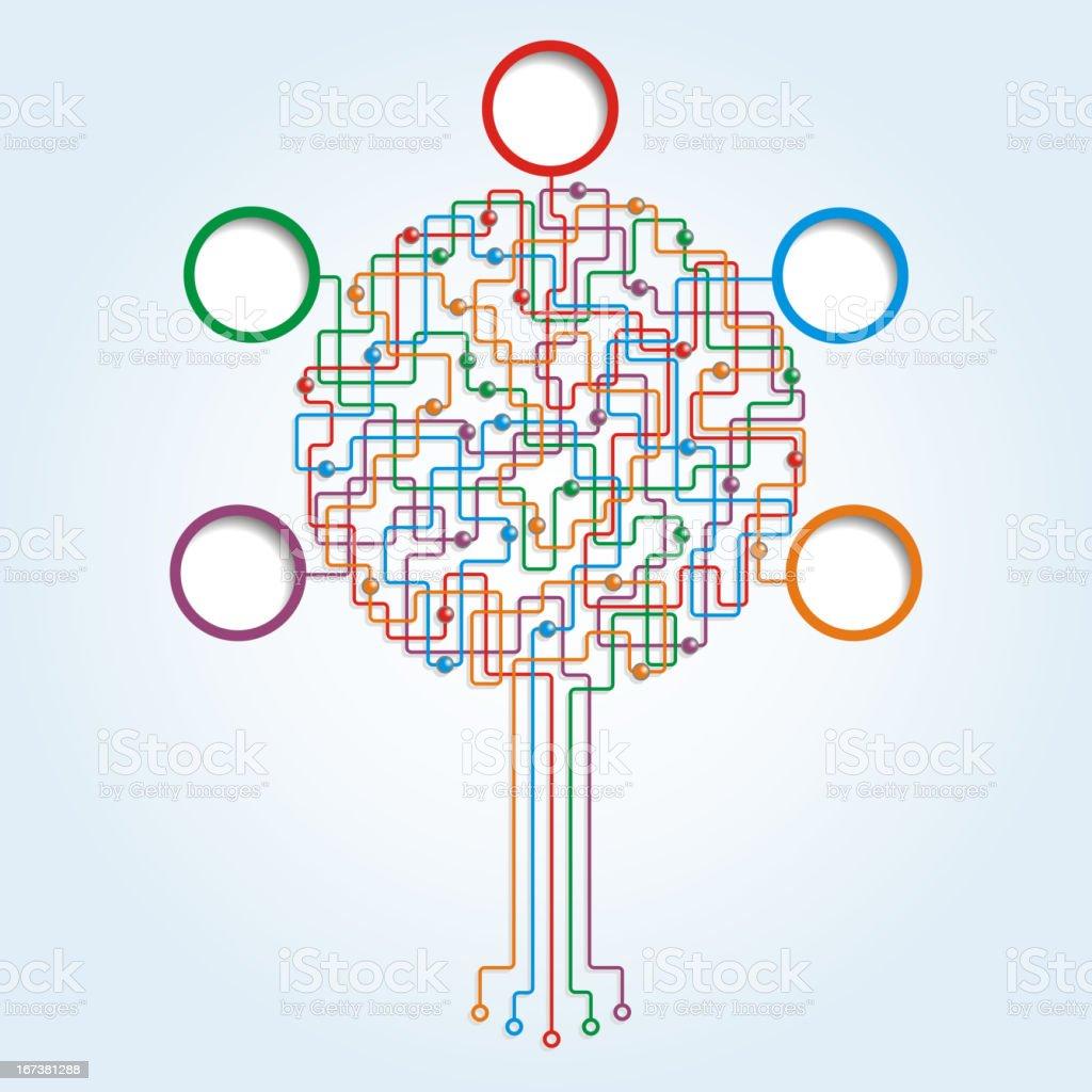 Circuit board tree pattern royalty-free stock vector art