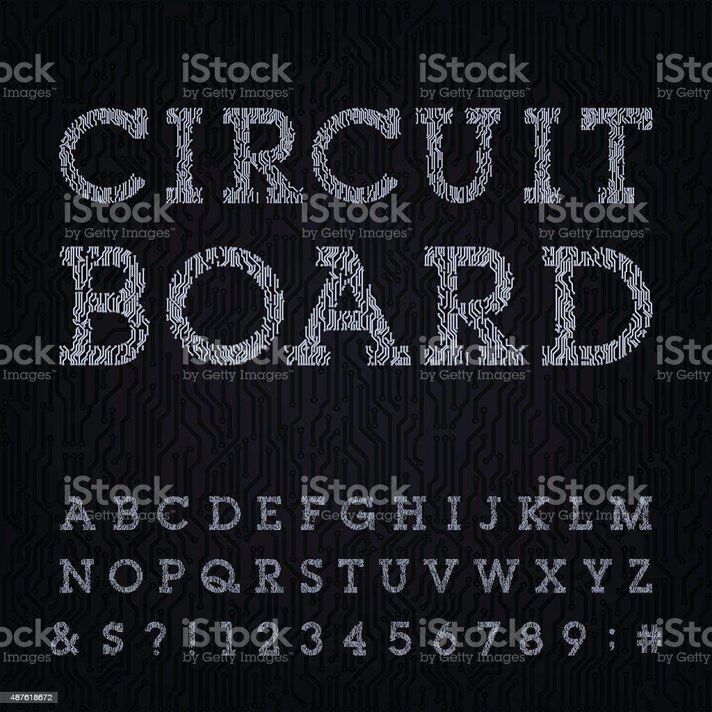 Circuit Board Type Font Vector Alphabet stock vector art 487618672 ...
