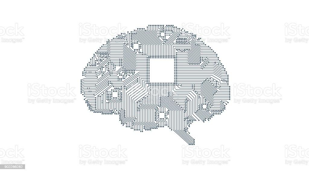 circuit board vector brain vector art illustration