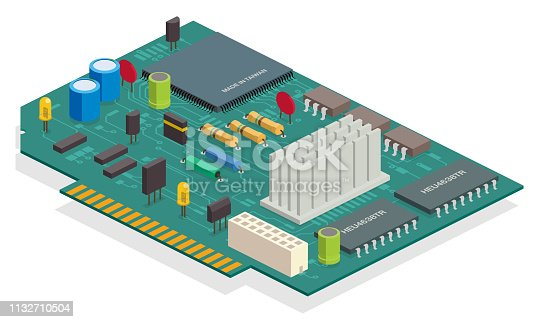 isometric board, semiconductors, capacitor, chips
