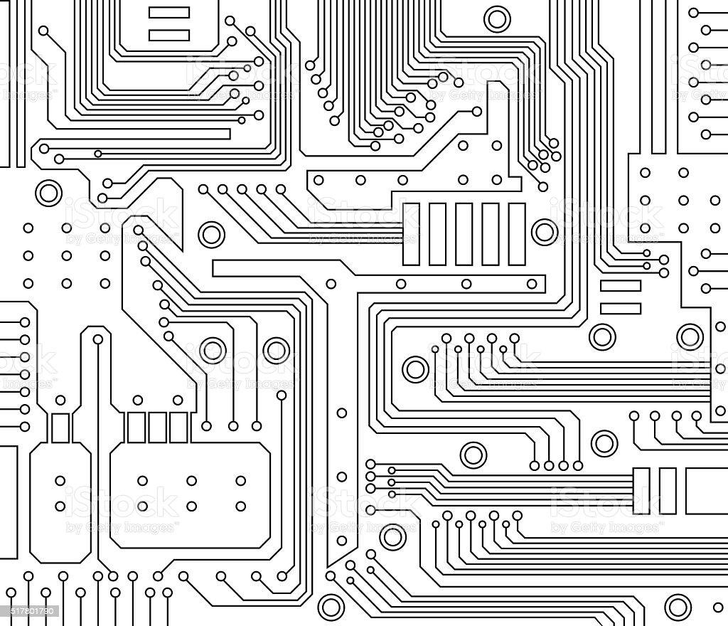Circuito Y : Ilustración de placa de circuito y más banco de imágenes de blanco