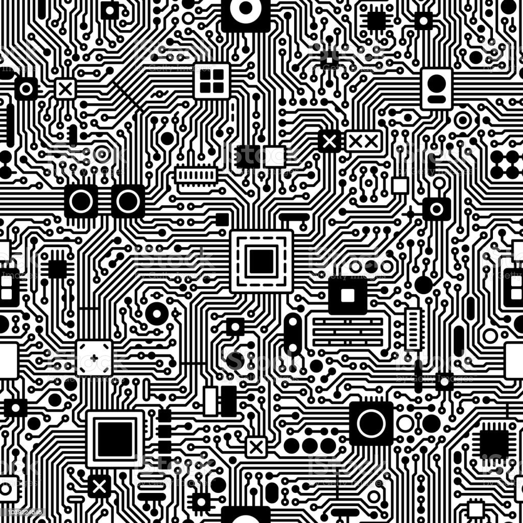 Circuit Board Vector Seamless Tile Black Stock Art More Design And White Images Royalty Free
