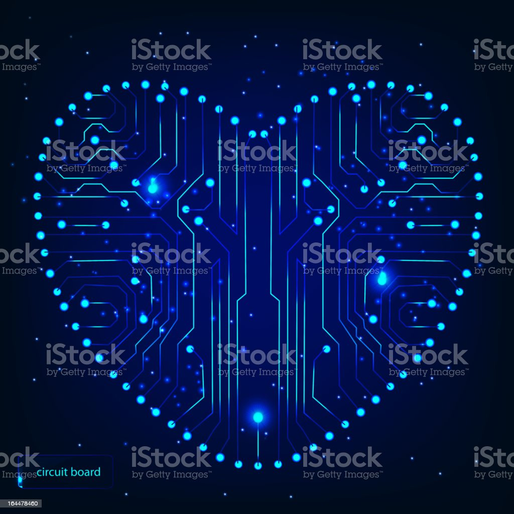 Circuit board with in heart shape pattern royalty-free stock vector art