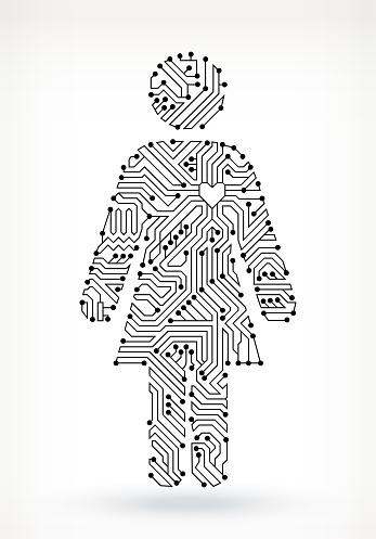 Circuit Board Woman Figure