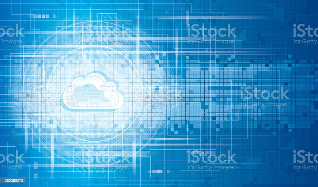 circuit cloud background vector art illustration
