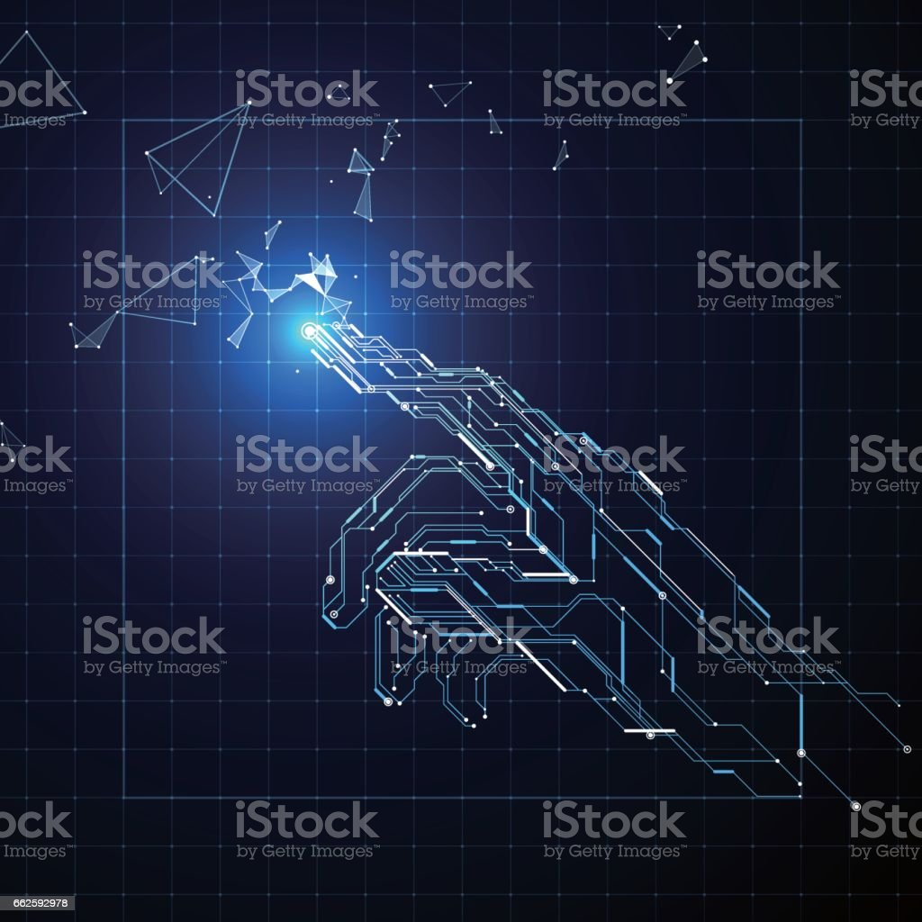 Circuit composed of hand. vector art illustration
