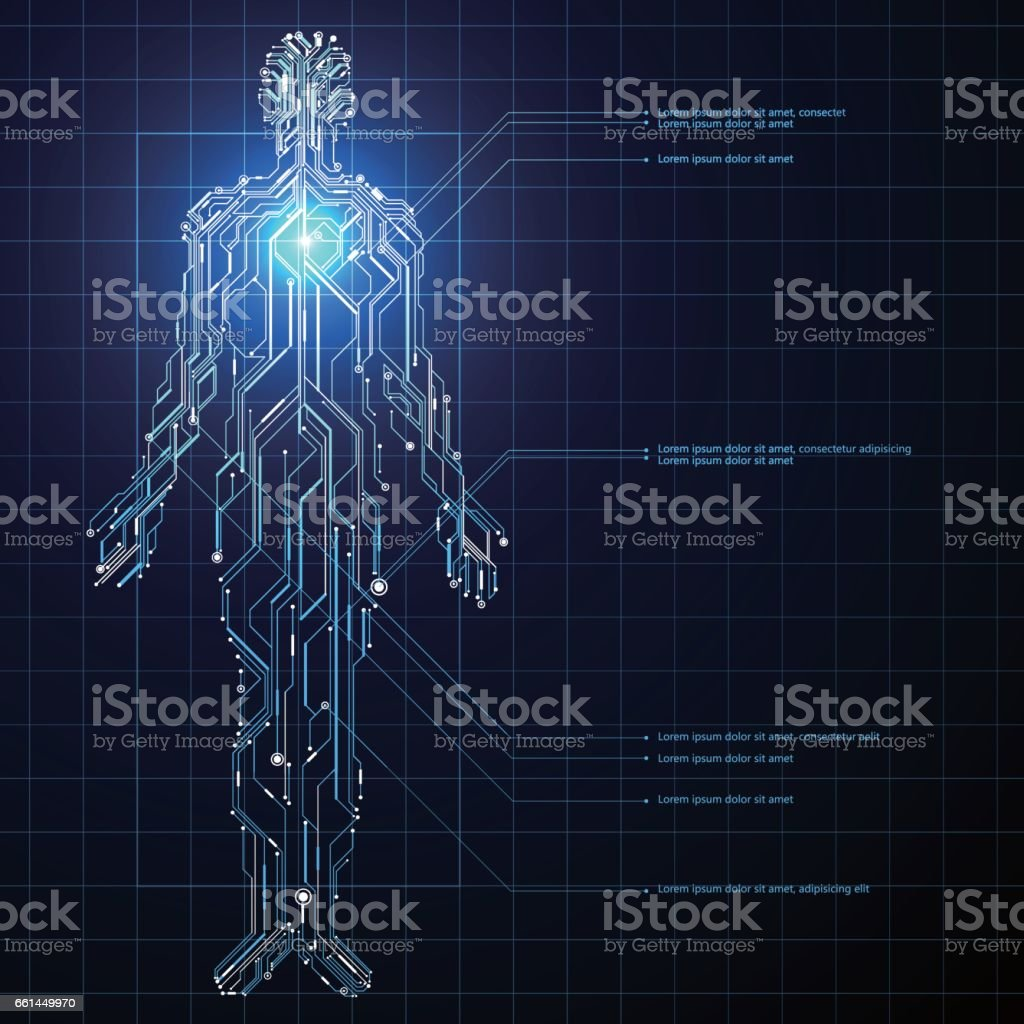 Circuit composed of human graphics. vector art illustration